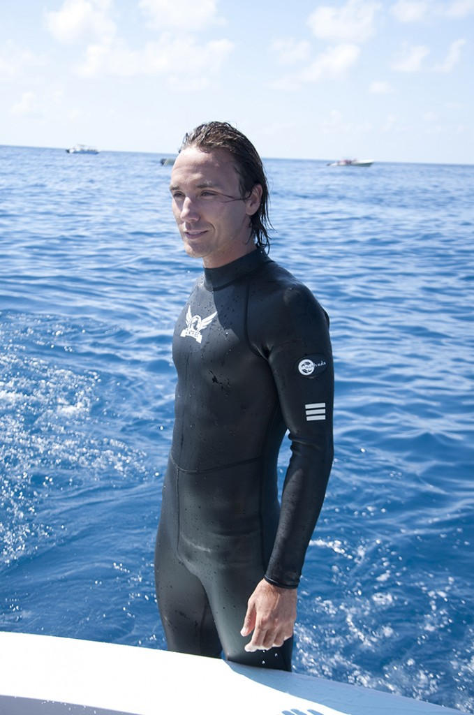 Rob Stewart on location while filming whale sharks in Mexico. Photo © Victoria Berg From the documentary film Revolution.